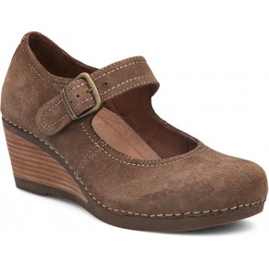 SANDRA Taupe Suede Leather