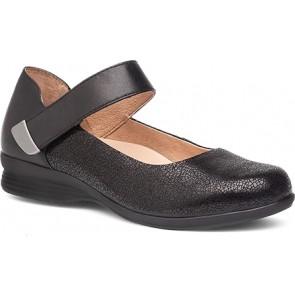 AUDREY Black Crackle Suede Leather